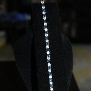 Estate Tennis bracelet Cubic Zirconia and sapphire
